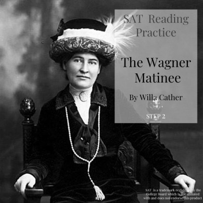 Willa Cather sitting on a chair with a large feathered hat. Cover to a reading package for SAT Reading practice. She is ready for Section number 5 on the SAT.