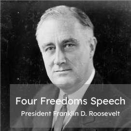 """President Franklin D. Roosevelt with the title """"Four Freedoms Speech."""" Linking to a collection of 5 articles for SAT reading practice."""