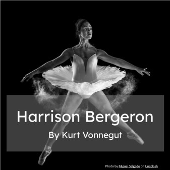 Ballerina in mid jump is the cover to a series of SAT reading practice including Harrison Bergeron