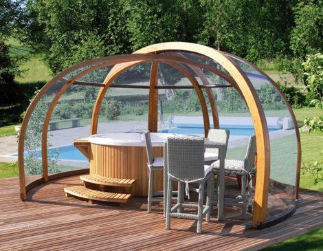 Dome shaped hot tub enclosures