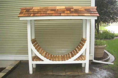 Firewood Storage Rack with roof