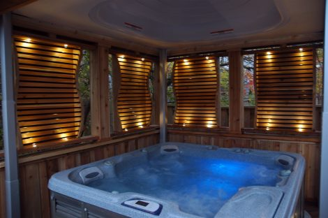 Friendly wooden hot tub enclosure