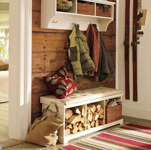 Indoor firewood bench storage