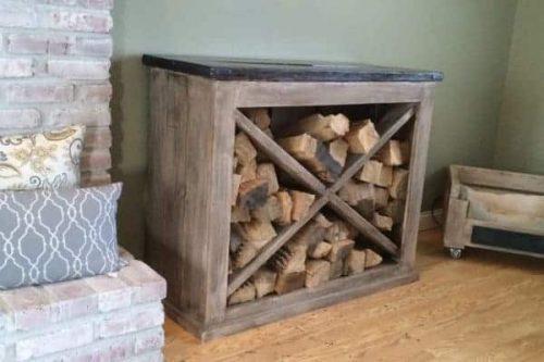 Interior firewood rack