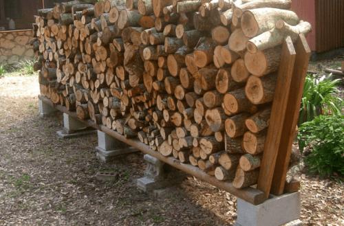 Simple backyard firewood rack