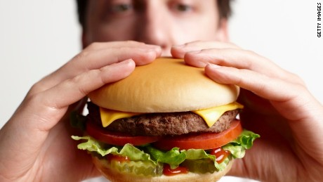 Eating a healthy burger