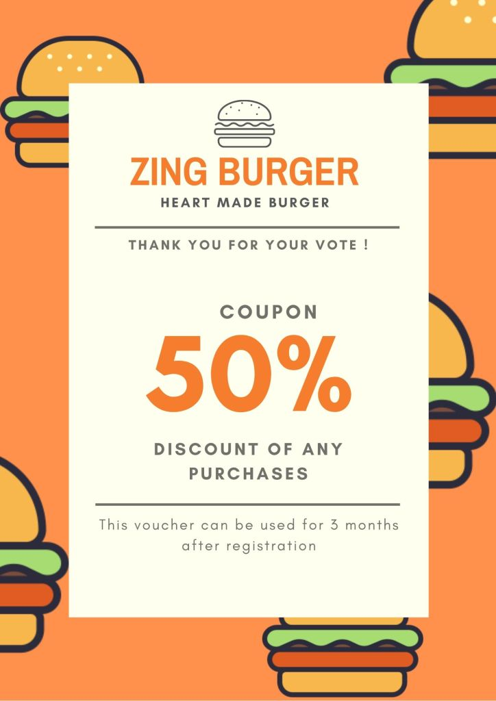 Healthy burger recipe with 50% discount coupon of Zing burger