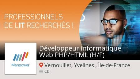Besoin d'un Développeur #informatique #Web PHP/HTML (H/F) #VernouilletYvelinesÎl...