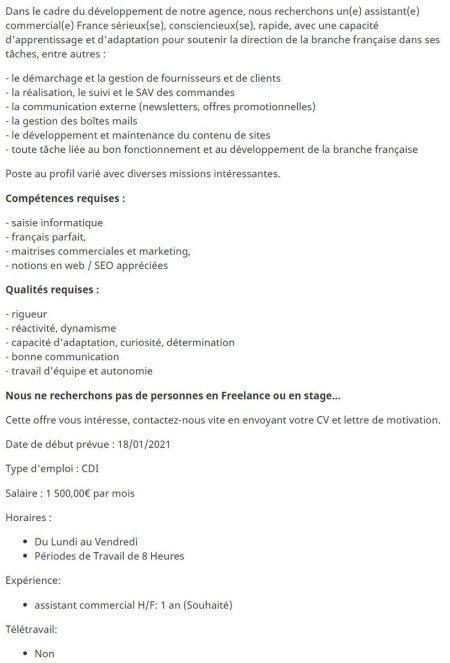 Cherche assistant commercial H/F pour l'agence  Poste à) pourvoir dès janvier à ...