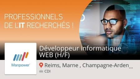 Êtes-vous un(e) Développeur #informatique #WEB (H/F) #job #ReimsMarneChampagneAr...