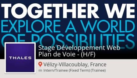 Stage #Développement #Web Plan de Voie - (H/F) (#stage) recherché #VélizyVillaco...