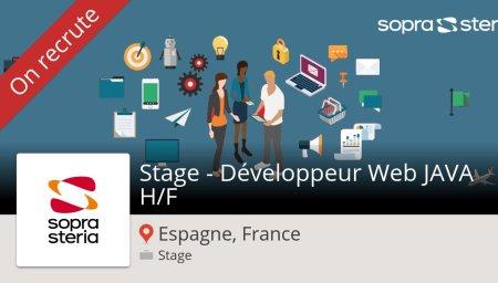 Stage - Développeur #Web #JAVA H/F (#stage) recherché #EspagneFrance. #SopraSter...