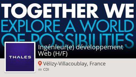 #Thales recrute un(e) #Ingénieur(e) développement #Web (H/F) #VélizyVillacoublay...