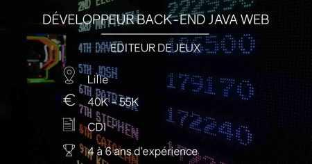 #wanted Éditeur de jeux, à la recherche d'un développeur back-end Java web pour ...