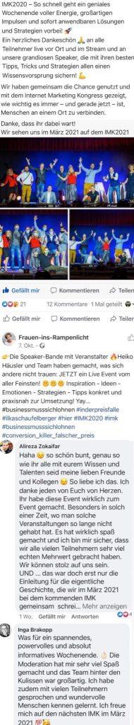 Feedback Internet Marketing Kongress 2020 von Heiko Häusler