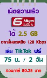 โปรเน็ตทรู 6 mbps 2วัน