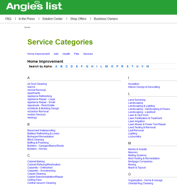 Angie's List Categories