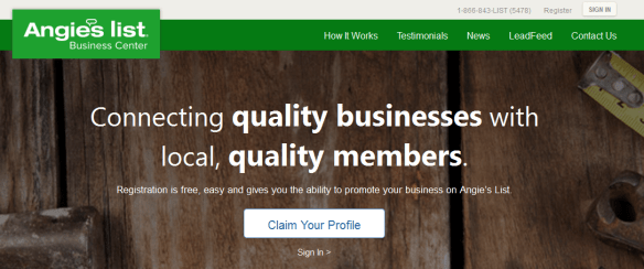 Angie's List Business Owners page
