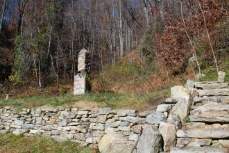 Stone chimney at trail parking