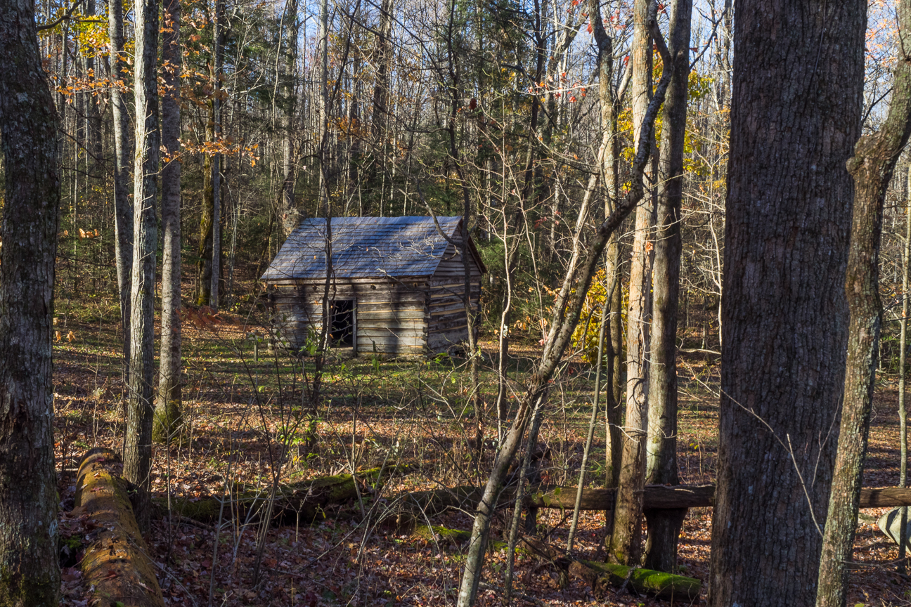 Built in 1889 by Willis Baxter for his son as a wedding present, Baxter Cabin is a one room home constructed entirely from the lumber of one chestnut tree. It is one of many 19th century settlements restored within Great Smoky Mountains National Park.