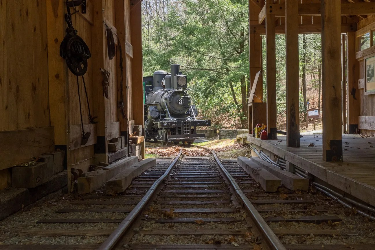 Where the Forest Discovery Trail returns to meet the Forest Festival Trail you will find an historic locomotive. Originally in operation in 1914, this Climax steam engine was purchased in 1973 along with 400 feet of narrow guage rail, a log loader crane car, and four log cars. Forest Service employee Elbert Wilkie had learned the engine inside and out while working for a lumber company. He refused to retire from the USFS until it was totally restored and operating. The Climax #3 now serves as an educational reminder of life as loggers in the forest a century ago.