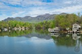 Lake Lure surrounded by mountains