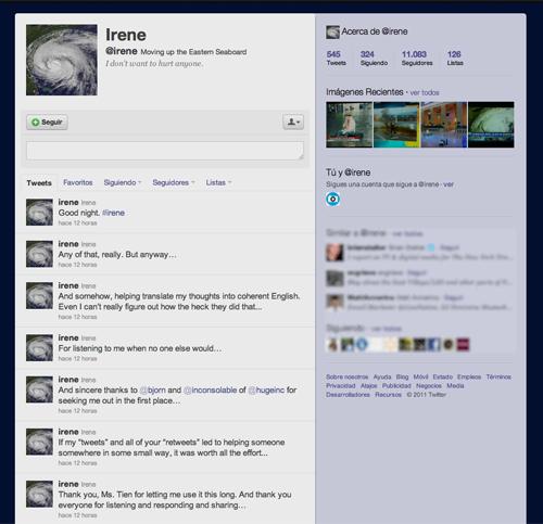 Irene, una mujer convertida en huracán por cuenta de Twitter