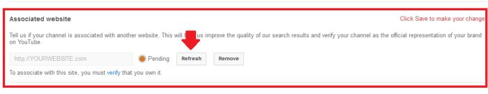 Channel >> Advanced >> Associated Website >> Refresh