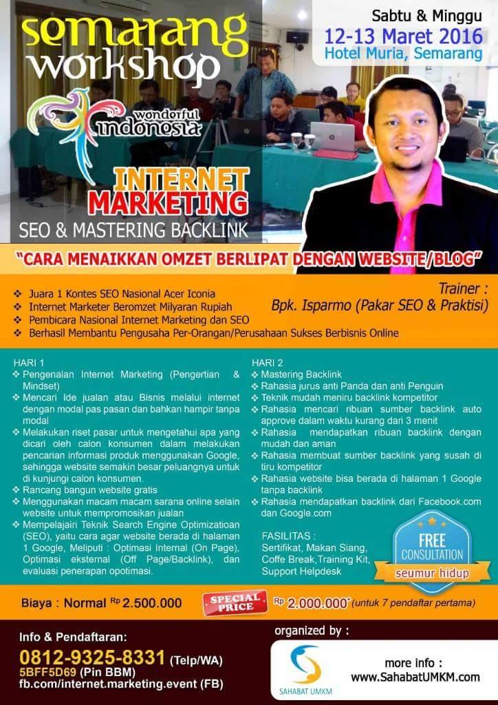 Pelatihan Workshop Kursus SEO Semarang Jawa Tengah 12-13 Maret 2016