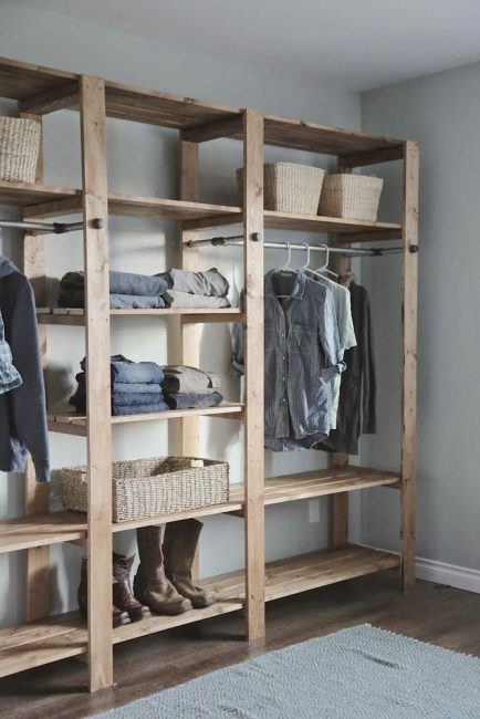 Open Closet Solid Wood