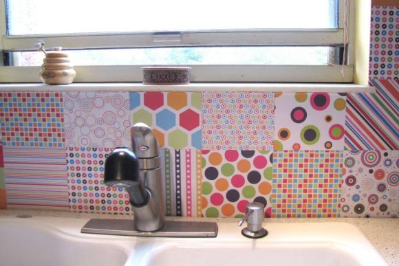 Contact-Paper-over-Tile-Backsplash