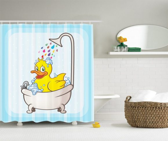 Big-Rubber-Duck-on-Kids-Shower-Curtains