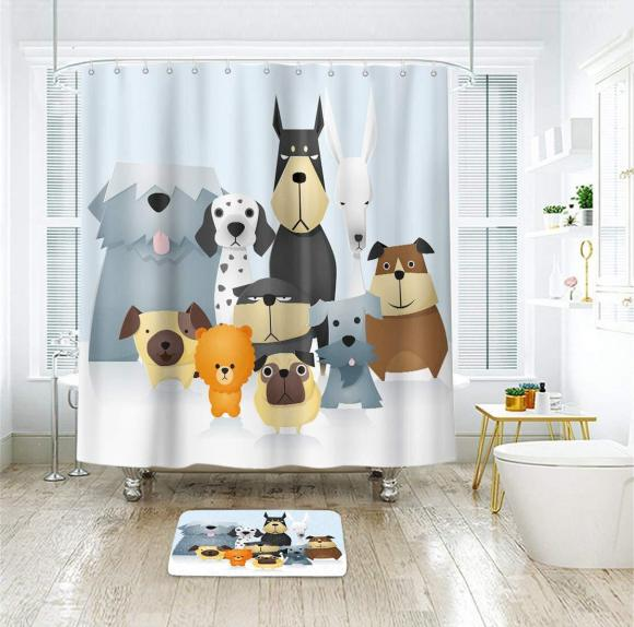 Colorful-Dogs-Pattern-shower-curtains