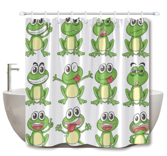 Cute Frogs on Kids Shower Curtains