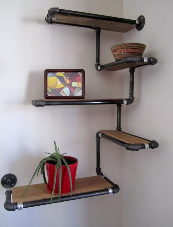 Industrial-Pipes-Structure-for-Corner-Shelf-Unit