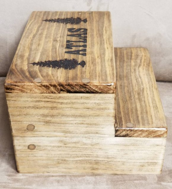 Wood Stool with Lettering