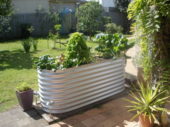 Deck Planter with Galvanized Wash Tub
