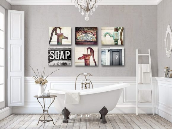 Farmhouse Bathroom Decor Cheap with Wall Art