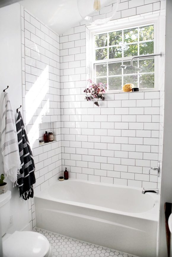 Tiled Bathroom and Bathtub