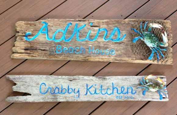 Watercolor Coastal Sign from Wood