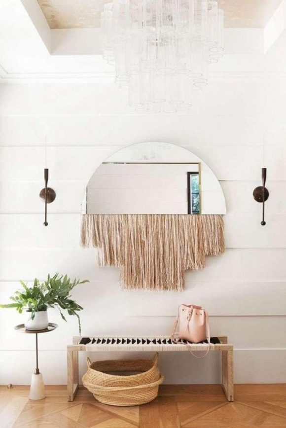 Semi-Circled Entryway Mirror with Tassel