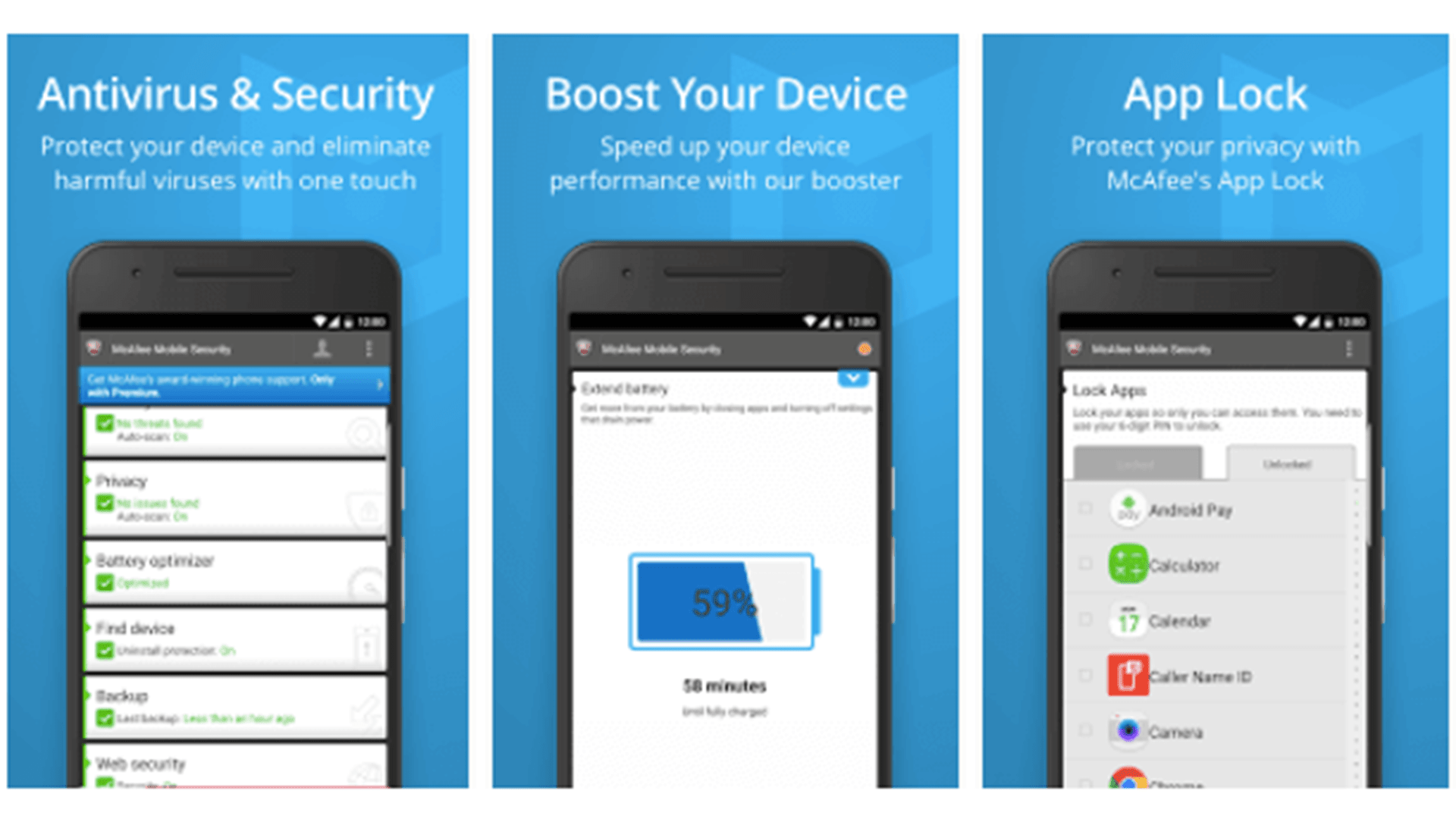 McAfee Mobile Security & Lock Screen Shots