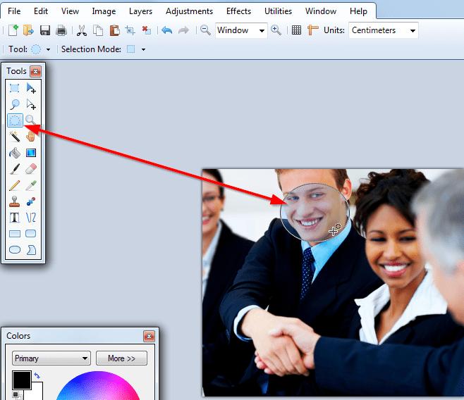 selektovati deo lica ili slike Kako zamagliti lice na slici pomoću Paint.NET?