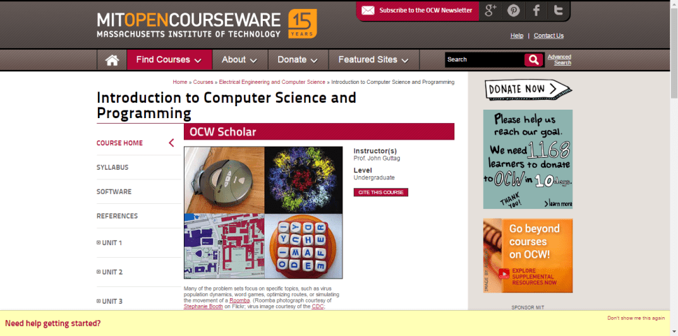 MIT Open-Course-Ware Introduction-To-Computer-Science