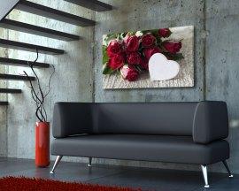 Stampa su tela - Rose rosse con cuore