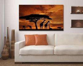 Stampa su tela - Giraffe al tramonto