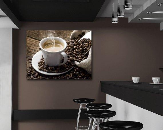 Stampa su tela-caffe espresso con chicchi