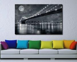 Stampa su tela - luna piena sul ponte