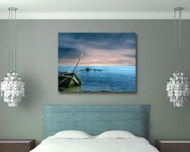 stampa su tela-naufragio nel mare blu