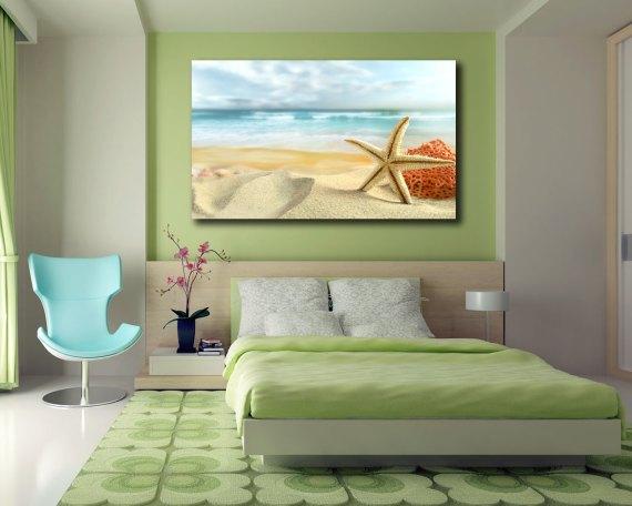 stampa su tela-stella e corallo sulla sabbia
